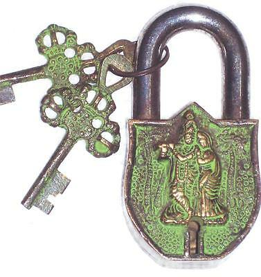 Very unusual & nice Brass & Steel made RADHA KRISHNA figure PADLOCK & 2 keys.