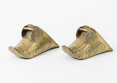 Pair of Antique Engraved Brass Stirrups Argentina Riding Shoe Covers Ornate