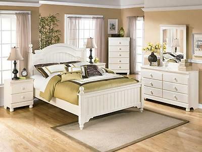 Fairfield-5pcs Traditional Cottage White Queen King Poster Bedroom Set Furniture
