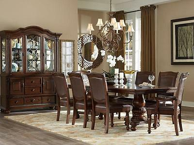 PORTOLA - 7pcs Traditional Cherry Brown Rectangular Dining Room Table Chairs Set