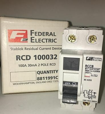 Federal Electric RCD 100032 100A Amp Double Pole RCCB Stablok Circuit Breaker