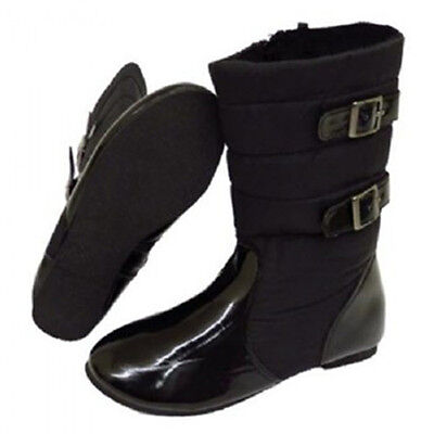 Girls Zip-Up School Flat Calf Quilted Fur-Lined Winter Boots. Sizes 13 - 5