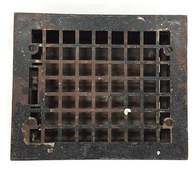 "Vtg Antique Cast Iron Floor Wall Heat Vent Grate Register Louvers 8"" X 10"" Lot D"