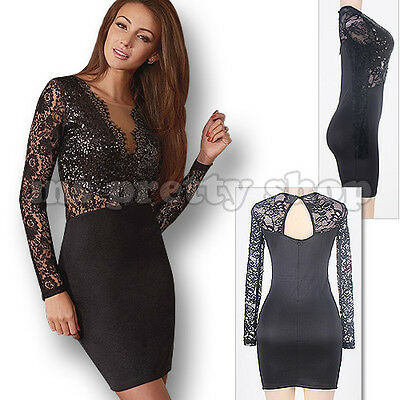 Womens Lace And Sequin Bodycon Party Cocktail Dress Size 10 12 (RRP £70!)