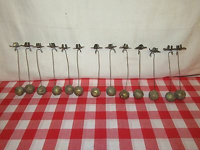 13 Antique Christmas Tree Candle Holders with Clay Ball Weights - b