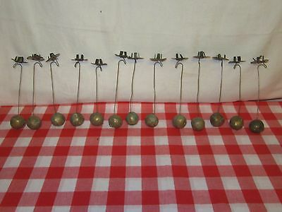13 Antique Christmas Tree Candle Holders with Clay Ball Weights - a