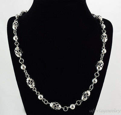 TAXCO 925 VINTAGE DESIGN LANTERN BEADS NECKLACE | Mexico Sterling Silver Jewelry