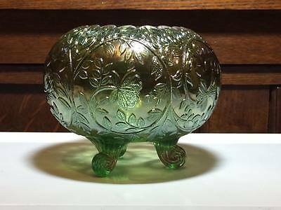 "Westmoreland ""LOUISA"" green iridescent green carnival glass rose bowl"