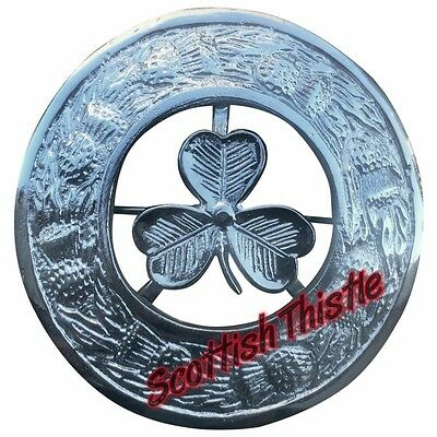 "Men's  Irish Shamrock Fly Plaid Brooch Chrome Finish 3""/Scottish Kilt Fly Plaid"