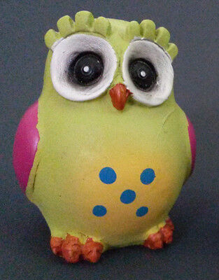 "OWL FIGURINE Wooden 3"" Painted Colorful Bird Chartreuse Green NEW"