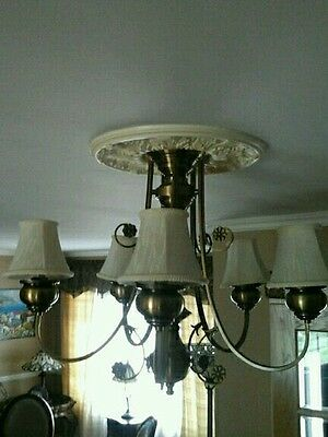Antique Brass Chandelier 5 Arm w Silk Shades Victorian Style Stunning!