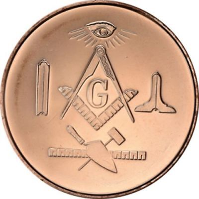 FREEMASON 1 oz 39 mm fine rare coins MASONIC 1 x COPPER  bullion round mint
