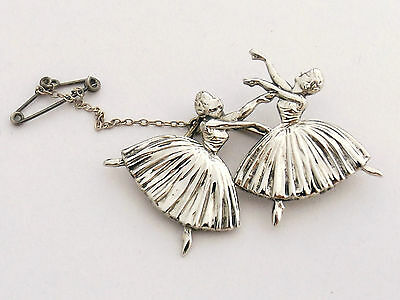 STERLING SILVER BROOCH  TWO BALLERINA BY DHP  Massingham