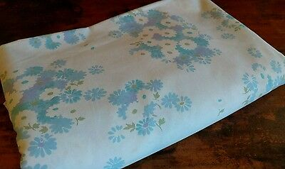 True Vintage 1960s Miracale Percale Blue Floral Queen Flat Sheet EUC