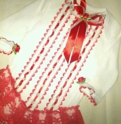 Last Chance For Xmas Pretty Frilly Red & White Vest All Sizes On Request