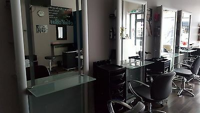 REM Salon Mirrors with lights, chairs and foot rests