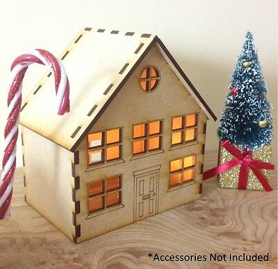 Laser Cut MDF Wooden Christmas House Decoration