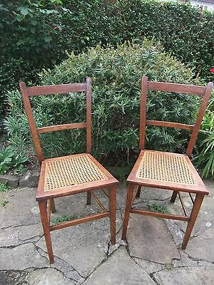 Antique Mahogany & Cane Chairs inlaid pattern to Backs x2