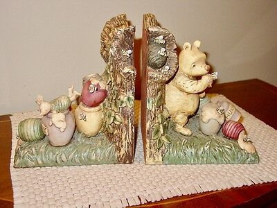 "Charpente Winnie-the-Pooh Ceramic Bookends ""Honey Pots"""