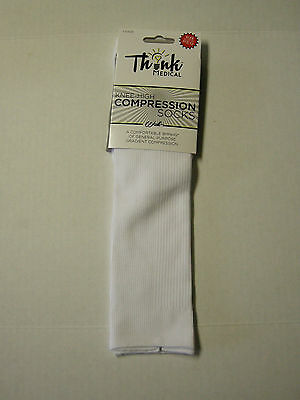 Compression Knee-Hi Socks By Think Medical, Unisex, White, 1 Pair, Brand New