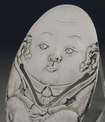 Superb Rare Sterling Silver Novelty Humpty Dumpty Bookmark 1990