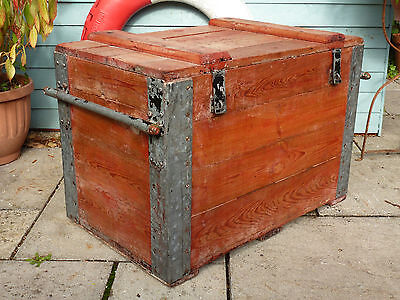 Very Large Heavy Flat Top Vintage Trunk Chest Industrial Retro Storage Patina