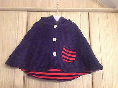Girl's Fleece Poncho With Hood. New Without Tags 12-18 Months