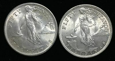 1945s US-Philippines Silver Coins 50 centavos (2 pcs)- lot#6