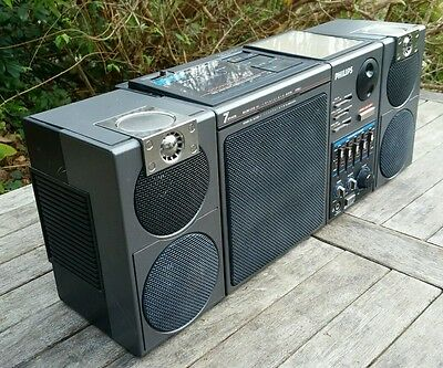 Vintage Retro 1986 Philips D8554 Sound Machine Boombox Ghetto Blaster 7 Speakers