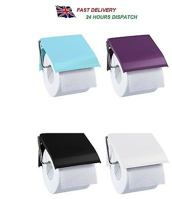 Retro Classic Style Wall Mounted Toilet Roll Holder - Blue, Black, White & Plum