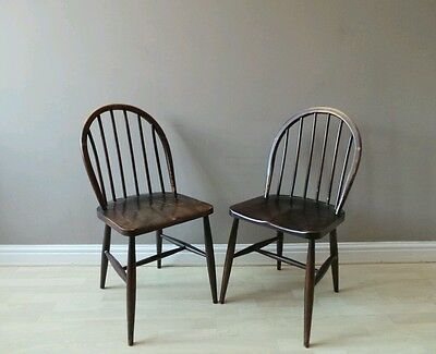 2 Vintage ERCOL mid century CC41 Windsor stick back dining chairs utility V.RARE