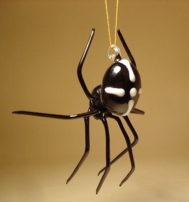 Blown Glass Figurine Art Insect Black with White Cross Hanging SPIDER Ornament