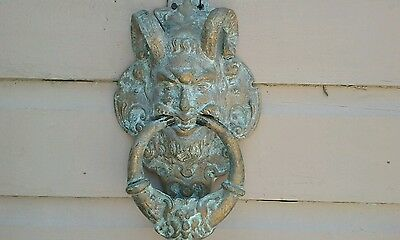 "Krampus large cast iron door knocker  13 1/2""  Satyr  demon  preowned Goth"
