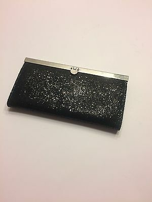 Black Sparkly Clutch Purse with Silver Trim and Clasp - FREE SHIPPING!