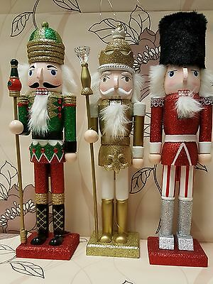 Largel Painted Glitter Christmas Holiday Nutcracker Soldier  Wooden 39cm NEW