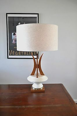 Danish Mid Century Atomic Eames 'OOPA' chalkware/teak Table Lamp & new shade
