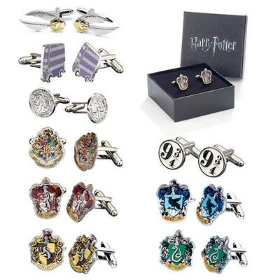 Official Harry Potter Hogwarts Silver Plated Crest Cufflinks Gift Boxed Movie