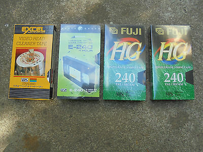 Fuji & Mcmx, 3X 4Hrs Unused Sealed Vhs Cassette Tapes & 1 Headcleaner