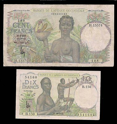 French W. Africa - 10 & 100 Francs 1945-53 - P# 37, 40