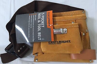 CraftRight 5 Pocket Tool Bag Leather Double Stitched New $22 Free Post