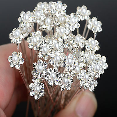 N Wholesale 40PCS Wedding Bridal Pearl Flower Crystal Hair Pins Clips Bridesmaid