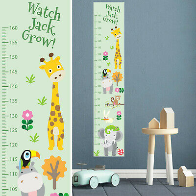 Personalised Custom FABRIC Height Growth Chart  Zoo Animals Design Add Name DOB