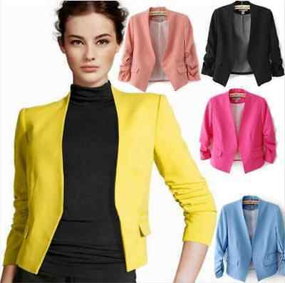 Fashion Lady Slim Fit Suit Blazer Coat Jacket Tops Womens Candy Color 3/4 Sleeve