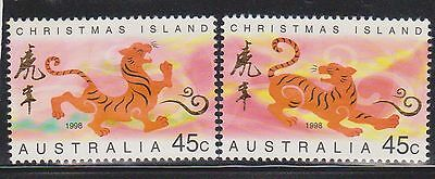 (AUP-133) 1998 Christmas Island 2x 45c year of the tiger stamps