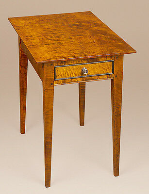 Tiger Maple Wood End Table - Country Style Shaker Stand - New Bedroom Furniture