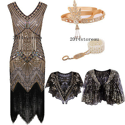 Flapper 1920s Dress Great Gatsby Charleston Fringe Party Sequin Roaring Costume