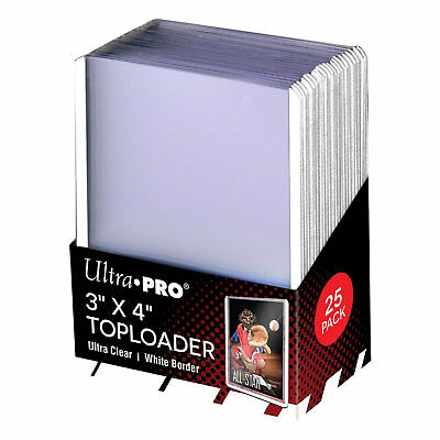 "Ultra Pro 3"" x 4"" Toploader Card Protectors with White Border - Packet of 25"