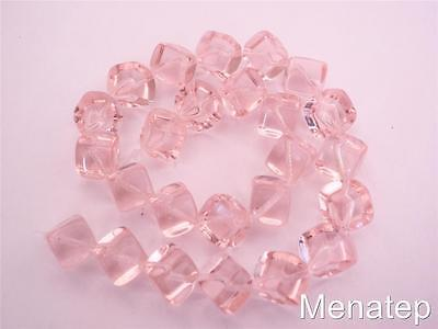 PG272311 50 Pieces Czech Glass Leaves Transparent Crystal Pink Luster 12x7mm