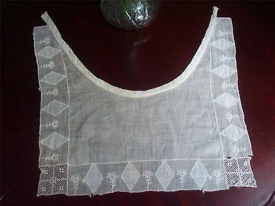 "Vintage 1920's Art Deco Ivory Cotton Bib Style Collar 13"" long 13"" wide"