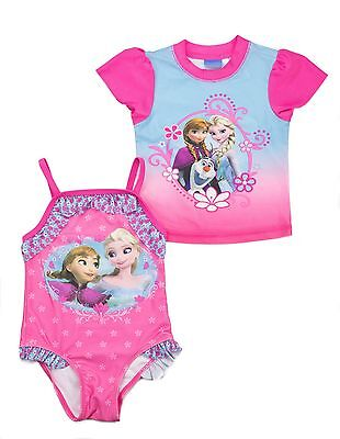 Disney's Frozen Toddler Girls' 2-Piece Anna & Elsa Rashguard & Swimsuit Set